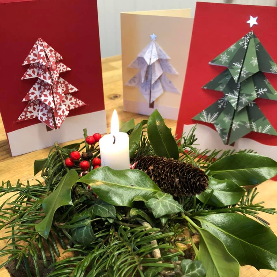 Origami Christmas cards and festive centrepieces.